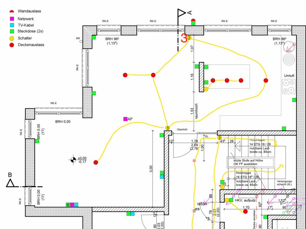 Ausschnitt aus unserem Entwurf der Elektroplanung, dem wir dem Elektriker bereitgestellt haben (Erdgeschoss).