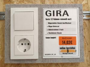 Gira E2 System 55 Schalter und Steckdose